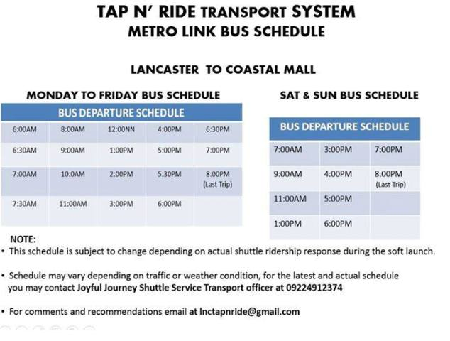 LANCASTER NEW CITY – TAP N' RIDE TRANSPORT SYSTEM METRO LINK BUS SCHEDULE – LANCASTER TO COASTALL MALL