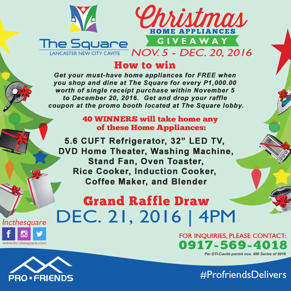 The square christmas home appliances giveaway